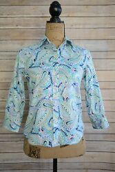 Chaps PETITE Bright BLUE multi-color PAISLEY 100% Cotton Button down shirt PXS