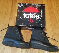 NEW WOMEN#x27;S BLACK WATERPROOF FAUX FUR TOTES BOOTS WITH LACES $29.99