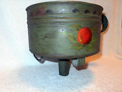 Large 9 Antique Footed Tin Funnel Green Tole Painted Fruit Decoration Handled