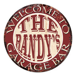 Cpgb-0078 Welcome Randyand039s Garage Bar Rustic Chic Tin Sign Man Cave Decor Gift
