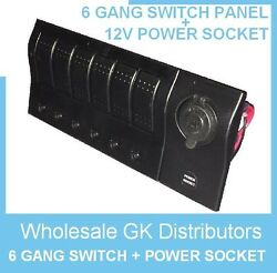 NEW 6 GANG LED WATERPROOF MARINEBOAT TOGGLE SWITCH PANEL POWER SOCKET