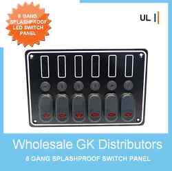 6 Gang Deluxe Led Rocker Switch Panel And Circuit Breakers -boat/marine/waterproof