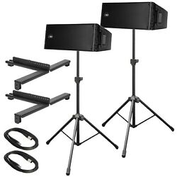 (2) RCF HDL 20-A Active Line Array Module Speakers with Pneumatic Speaker Stands