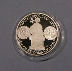 2000 Czech Rep 200 Korun Silver Proof Coin Monetary Reforms Of Vaclav Wenceslas