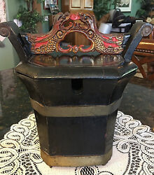 Hand Carved Wood, Red Lacquer Foo Dog/dragon Wedding Box, Early 20thc, China