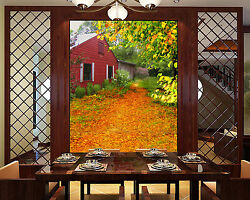 3D Yellow leaves red house 2 Wall Paper Wall Print Decal Wall Deco AJ WALLPAPER