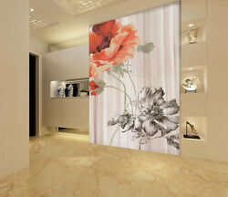 3D Red and  colorless flowers Wall Paper Wall Print Decal Wall Deco AJ WALLPAPER