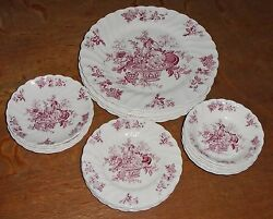21pc Bountiful Staffordshire England Myott, Son And Co Floral Pink Dish Set
