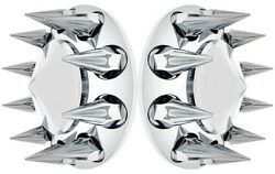 Axle Hub Covers Chrome Abs Plastic 2 Front Steer Kits Thread On Spike 33mm 10241