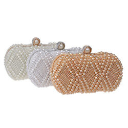 Fashion Pearl Dinner Bag For Women Bridal Clutch Evening Bag Party Purse Wallet
