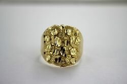 Authentic 14k Yellow Gold Nugget Ring Small Large Size 5 13