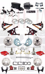 1964-72 A Body Disc Brake Conversion 2 Drop Red Wilwood Package And A- Arms