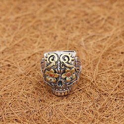 Genuine Men's Solid 925 Sterling Thai Silver Ring Skull Zircon Open Size 8 to 12
