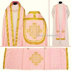 Rose Damask Cope Stole Humeral Veil Set Vestment High Mass Lined New