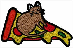 43046 Brown Cat Sitting on a Slice of Pizza Cute Funny Animal Sew Iron On Patch
