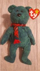 Wallace. Ty Beanie Baby Bear Retired. Green. Tag Intact.
