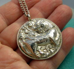 Estate Vintage Italy Repousse Sterling Silver Fire Dragon 26 Inch Long Necklace