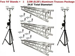 Two 14and039 Crank Up Stands With Three 8.20and039 Square Aluminum Truss Segments Package
