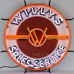 Willys Sales Services Jeep Neon Sign 24x24