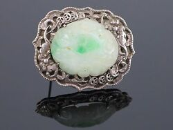 Antique Chinese Carved Moss In Snow Natural Jadeite Jade Sterling Brooch, 14.5g