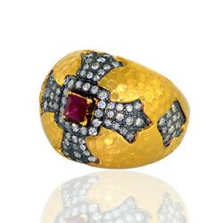 18k Solid Gold Pave Diamond Dome Ring Ruby Gemstone Religious Cross Jewelry