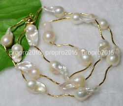 32 Natural 15-23mm White Pearl South Sea Baroque Pearl Necklace 14k Pn808