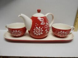Set Teapot Two Cups And Tray Red White Floral Huesnbrews