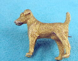 Estate Stunning Rare Vintage 10k Bright Yellow Gold Terrier Dog Lapel Pin Brooch