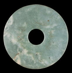 Old Chinese Green And Russet Jade Bi - Liangzhu Culture