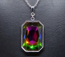 Emerald-cut Rectangle Crystal Pendant Made With In Vitrail Rainbow