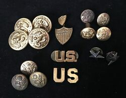 Vintage Us Military Uniform Buttons Pins Lot Of 18 Pieces, Single Star Sterling