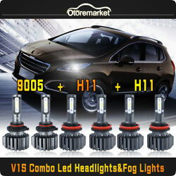 6x Combo 9005+H11+H11 CSP LED Hi+Low Beam+Fog Car DRL Headlight For Toyota Camry