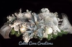 Christmas Floral Arrangement Swag Holiday Centerpiece Blue Silver Snow Flocked