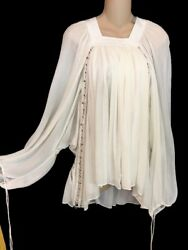 Chloe Blouse Milk White Silk Long Sleeve Brass Metal Rings Tie Cuff Size 34 NWT