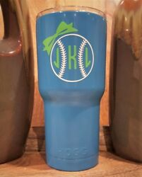 Personalized Powder Coated Tumbler With Softball Monogram Decal. Choose Colors.