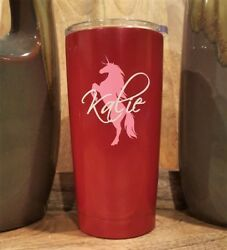 Personalized Powder Coated Tumbler With Unicorn And Name Decal. Choose Colors.