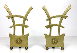 Unique Vintage Asian Hammered Brass And Iron Fireplace Andirons Mid Century Modern