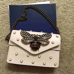 gucci broadway clutch shoulder bag white leather with pearls Retail $3200+tax