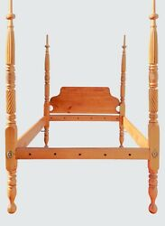 18th Century Cherry Carved Canopy Four Poster Full Size Antique Tester Bed