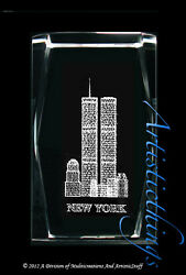 3d Laser Crystal Paperweight World Trade Center New York Building
