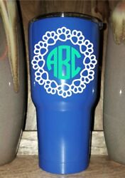 Personalized Powder Coated Tumbler With Paw Print Circle Monogram. Choose Colors