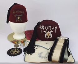 Huge Early 1900 - 1950s Masonic Shriners Knightand039s Templer Lot Includes Fez Etc.