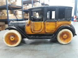 Early 1920's Cast Iron Arcade Yellow Cab 9inch