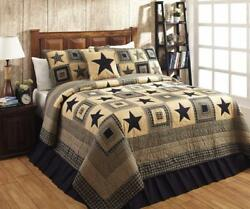 5pc Colonial Star Black And Tan Rustic Primitive Quilt Shams Skirt Pillow Bed Set