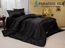 22mm Extra Thick Silk Duvet Cover Fitted Sheet Pillow Cases 4pcs Set