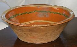 Huge 15 Antique Bowl French Alsace Slip Decorated Pottery Utilitarian 19th C
