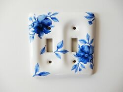 Cottage Decor Double Light Switch Outlet Plate Cover Blue White Ceramic