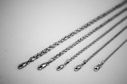 14k White Solid Gold Rope Chain Necklace 1.5mm 5mm 16 30