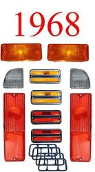 68 Chevy 10pc Tail Light, Deluxe Side And Amber Parking Light Kit C/k Truck