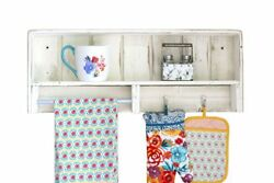 White Combo Towel Rack With Hooks